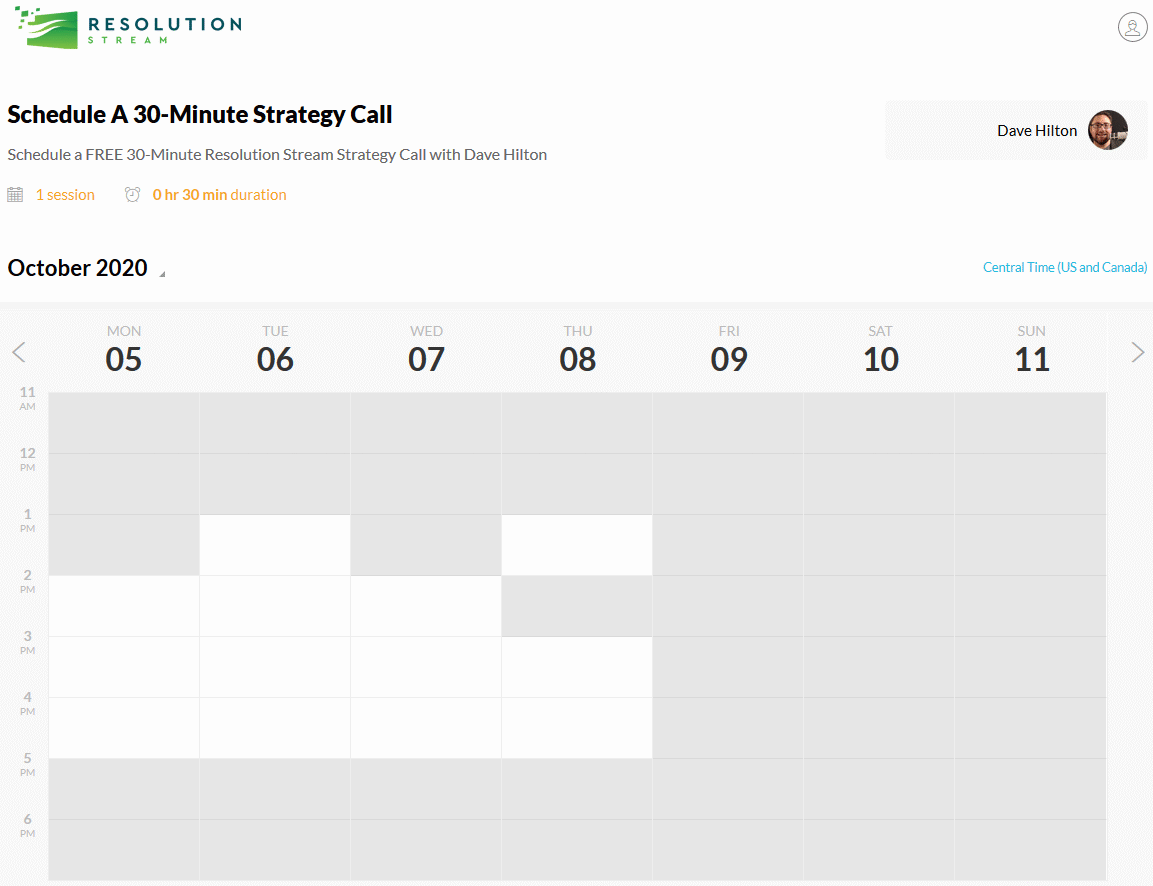 Resolution Stream 30 Minute Strategy Call Calendar Screenshot 2020
